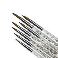 Tırnak Fırçalar Profesyonel UV Jel Fırça Astar Boyama Kalem Akrilik Çizim Çivi Degrade Rhinestone Kolu Için DIY Sanat Araçları