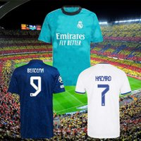 Jerseys Real Madrid 21 22 Camisa de Futebol de Futebol Alaba Hazard Sergio Ramos Benzema Asensio Modric Marcelo Camiseta Men + Kids Kit 2021 2022 999