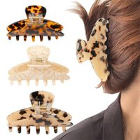 Women Claw Hair Clip 3.5   4 inch Grip Leopard Print Barrettes French Vintage Design Large Hairs Jaw for Thick Thin Curly Straight LongHair 6pcs