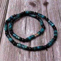 قلادة الحجر الطبيعي الأخضر للرجال النساء هاواي سيرفر مجوهرات