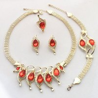 Earrings & Necklace Nigeria Fashion Jewelry Sets For Women Red Crystal Bracelet Charm Bridal Wedding Accessories Ring