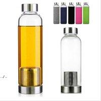 22oz glas vattenflaska BPA gratis högtemperatur resistent glas sport kopp med te filter infusioner flaskor nylon ärm 5 färger DWF11082