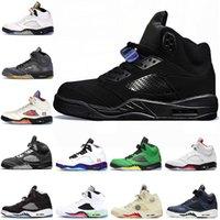5 5 ثانية أحذية كرة السلة الرجال النساء أحذية رياضية الشبح المعدني الأبيض أنثراسايت الكوسة غرفة حمراء من جلد الغزال المدربين