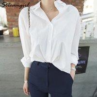 Streamgirl فضفاضة قميص أبيض المرأة ربيع الخريف عارضة فضفاض بلوزة بيضاء للنساء القطن صديقها القمصان طويلة الأكمام قمم 210315