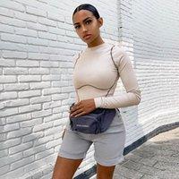 Rundhalsausschnitt High Cut Langarm Body Damen Herbst Winter Overall Streetwear Körper Con Top Body Anzüge C70-I58