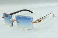 21 neueste stil schneidlinse luxus designer sonnenbrillen 3524021, natürliche hybride büffelhörner mittel diamanten gläser, größe: 58-18-140mm