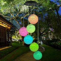 Party Decoration Multi-color Solar Powered LED Wind Chime Light Garden Portable Color Changing Hanging Spinner Lamp Outdoor Lanterns Decor