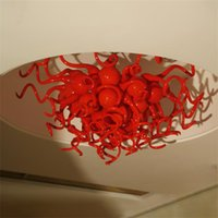 Art Deco Bedroom Bedside Lamps Ceiling Lights Hand Blown Murano Glass Chandelier 60*60CM Red Colored