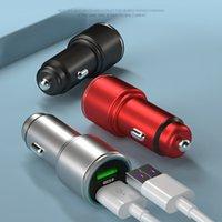 Caricabatterie per auto per telefoni cellulari Dual USB Lega LED QC3.0 Adattatore di carica veloce in veicolo per iPhone Samsung