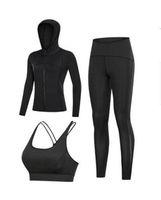 001 Traje de yoga de tres piezas 20 21 NUEVO otoño secado rápido ropa deportiva pantalones de moda de las mujeres de alto traje de yoga elástico