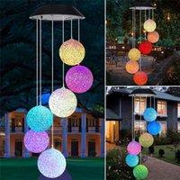 Lámparas solares Luces LED al aire libre Viento Chime Spiral Star Outdoor Star Moon Mariposa Árbol de Navidad Pájaro Pájaro Lámpara decorativa Jardín Fairy