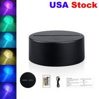 RGB Işıkları LED Lamba Tabanı 3D Illusion Lamba Için 4mm Akrilik Işık Paneli AA Pil veya DC 5 V USB 3D Gece Lambası