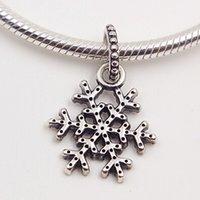 Collares de plata esterlina Pulseras de copo de nieve Charm 925 Bead CZ Se adapta a la joyería de Pandora Europea Dividir con el claro UAHGB