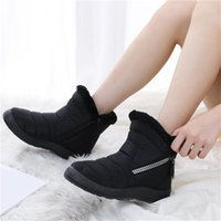 Boots Women 2021 Winter For Lady Waterproof Warm Snow Zipper Ankle Low Heels Shoes Female