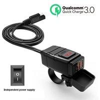 듀얼 USB 포트 12V 방수 오토바이 핸들 바 충전기 퀵 충전 3.0 전압계 스마트 전화 태블릿 GPS