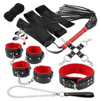 Bondage Erotic Set Handcuffs Collar With Traction Chain Whip Flirt Bdsm SM Toy