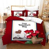 Conjunto de ropa de cama de invierno Feliz día de San Valentín Regalo Regalo de la boda Duvet Conjuntos 3 PCS impreso rojo 3D cubierta de rosa Cubierta de rosa Juego King Tamaño 260x230