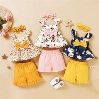 طفلة ملابس مجموعة الصيف طفل الاطفال الأزهار أكمام القوس أعلى السراويل عقال 3 قطع ملابس الطفل مجموعة الفتيات ملابس 334 Y2