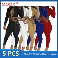 Women's Two Piece Pants Fall Women Tracksuits Crop Top + Legging Sexy Bandage Lace Up Hollow Out 2 Set Outfits Bulk Items Wholesale Lots M79