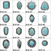 Fábrica8cqlwomen Turquesa Anéis para novos homens Natural Stone Vintage Retro Ajustável dedo Anel de Moda de moda a granel