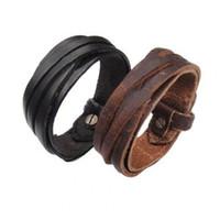 Homens quentes mulheres pulseira vintage punk multilayer trançado bracelete de couro fino jóias de alta qualidade casais presente