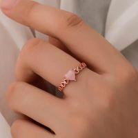 Кластерные кольца Мода Искусство Кольцо Темперамент Полый Любовь Открыть Маленькое Свежее Опал Персиковое сердце