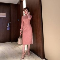 Ethnic Clothing Improved Cheongsam, Young Autumn winter 2021, Mink Wool-like High-end Banquet Dress, Long-sleeved Dress