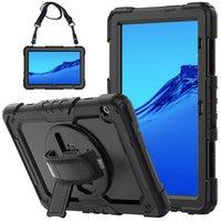 حالة سيليكون الثقيلة ل Huawei MediaPad T5 غطاء صدمات مع حزام الكتف وإزالة المسندات القابلة للتدوير + حامي الشاشة