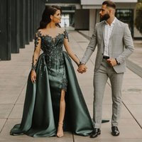 Fashion Beaded Side Split Prom Dresses With Detachable Train Sheer Bateau Neck Mermaid Evening Gowns Long Sleeves Satin Formal Dress