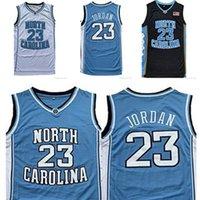 Kuzey Carolina Erkekler Tar Topuklu 23 Michael Jersey UNC Koleji Basketbol Giyim Formaları Siyah Beyaz Mavi Gömlek Atletik
