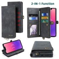 2021 아이폰 13 XR XS 12 11 Pro Max 6 7 8 Plus 멀티 카드 슬롯 마그네틱 탈착식 2 손 스트랩이있는 1 플립 스탠드 커버