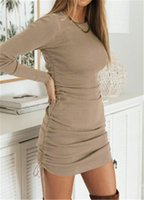 Women Crumpled Straps Dresses Fashion Trend Sexy Round Neck Solid Color Short Skirts Designer Female Casual Bodycon Knee Length Pencil Dress