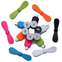 USB Gadgets Mini Taşınabilir Fan Çok Renkli 2 1 Cep Telefonu Elektrikli Soğutma Soğutucu Android Oto Araba Styling Aksesuarları Için 1 adet