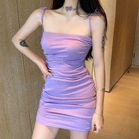 Платья DrawString Pliated Harajuku Сексуальная тугая сумка бедра юбка модный темперамент повседневный бюстгальтер подвеска платье женское лето
