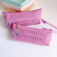 Pencil Bags Ins Purple English Letter Case Kawaii Stationery Bag With Pendant Office School Supplies Pouch
