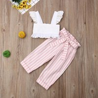 Clothing Sets UK Baby Kids Girls Toddler Tank Top Vest+Stripe Pants Outfits Clothes Set