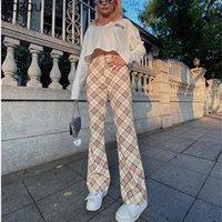 Calças femininas Capris Yozou Mulheres Chic Harajuku Y2K Manta Vintage Elastic High Wasit Botão Slim Boot Corte Flare YL-475