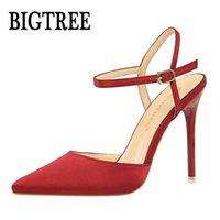 BigTree Mujer puntiaguda Toe Tacones altos Zapatos Mujer Slingback Bombas Slingback Ladies Hebilla Correa Fiesta Boda Stilettos Zapatos 86 -2