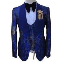 Abiti da uomo Blazer Autunno Autunno Brand Moda Stampa di alta qualità Boutique Groom Casual Slim Fit 3 Pz Set Set da sposa Dress Party Prom Tuxedo