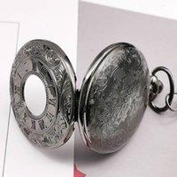 Antique Steampunk Charm Black Quarz Halskette Taschenuhr Hohl Vintage FOB Uhr Mit Kettenanhänger Frauen Männer Geschenke