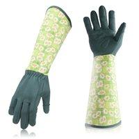 Five Fingers Gloves Gardening Work Planting Housework For Men Women Rose Pruning With Long Forearm Gauntlet Printed Nylon PU Household