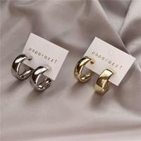 Minimalista Gold Argento Placcato Big Hoop Orecchini Alloy Moda Specchio Lady Earnario Orecchino Semplicità Accessori per gioielli Delle Donne Vendita calda