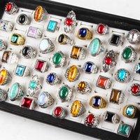 Novos 50 pçs / pack Turquesa Anel Mens Moda Moda Jóias Antique Prata Vintage Natural Stone Anel Party Gifts