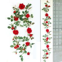 Decorative Flowers & Wreaths Rose Vine Artificial Flower Garland Fake Hanging Ivy Plants 1.66m For Wedding Home Party Garden Arrangement Dec
