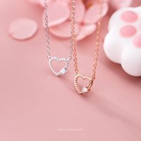 MODIAN New Simple 925 Sterling Silver Dazzling Zircon Hollow Out Hearts Pendant Necklace for Women Fine Jewelry Valentine's Gift Q0531