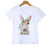 ics 여름 어린이 티셔츠 패션 소녀 꽃 동물 인쇄면 티셔츠 소년 소년 짧은 소매 캐주얼 탑스 의류 A5885
