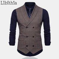 Мужчины формальный клетчатый костюм жилет высокого качества двубортный большой размер M-4XL жилет мужской серый кофе T0531