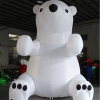 Reklam Büyük Beyaz Şişme Polar Bear Dev Şişme Teddy Bear Noel Dekorasyonu için Hayvan Balon