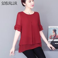 Women's Blouses & Shirts Chiffon Blouse Women Summer Short Sleeve O-neck Loose Casual Oversize Solid Plus Size Tops Black Red Femme Blusas