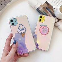 Luxo laser gelado pêssego glitter telefone caso para iphone 12 pro max 11pro xs max xr x 6 7 8 mais amor coração blu-ray capa macia